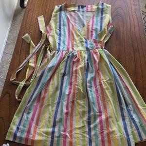 Rainbow striped wrap dress